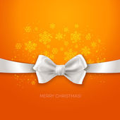 Orange Christmas background ribbon with white silk bow — Stock Vector