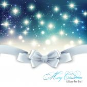 Holiday light Christmas background with white silk bow — Vettoriale Stock