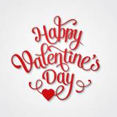 Happy Valentines Day Vintage Card With Lettering — Stockvector