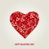 Happy Valentines Day card with low poly heart — Stock Vector