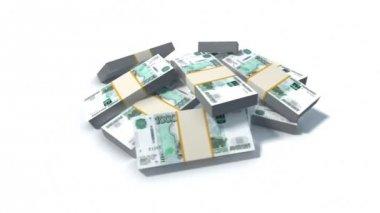 Rus Rublesi faturaları yığını — Stok video