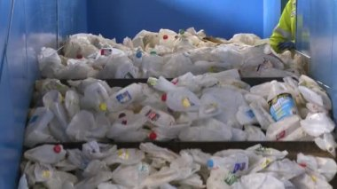 Trash on recycling plant — Stock Video