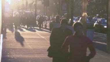 Pendolari di New York ad alba — Video Stock