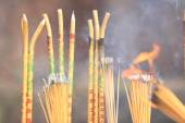 Burning incenses in temple,words meaning blessing — Stock Photo