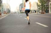 Runner athlete running on city street. — Stock Photo