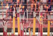 Burning incenses in temple,words meaning blessing — 图库照片