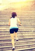 Runner athlete running on stairs. — Photo