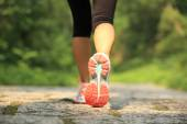 Young fitness woman legs running at forest trail — ストック写真