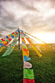 Buddhist tibetan prayer flags in tibet,china — Stock Photo