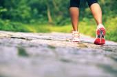 Woman legs walking on forest trail — Stock fotografie