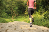 Woman running at forest trail — Stock fotografie