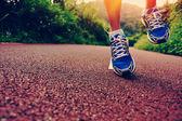 Runner legs running at forest — Stock Photo