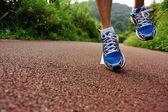 Runner legs running at forest — Fotografia Stock