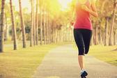 Atleta correndo no parque tropical — Fotografia Stock