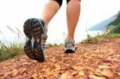 Woman hiking on trail — 图库照片