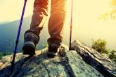 Woman hiker stand on mountain peak rock enjoy the view — Stock Photo