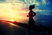Runner athlete running at seaside. woman fitness silhouette sunrise jogging workout wellness concept. — Stock Photo