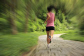 Jonge fitness vrouw draait op bospad — Stockfoto