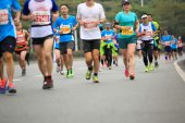 Athletes running at shenzhen international marathon — Stock Photo