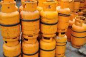 Yellow gas containers — Stock Photo
