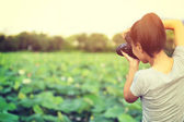 Woman  photographer taking picture — Stock Photo