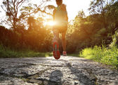 Runner athlete running on forest trail. — Stock Photo