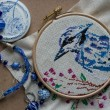 Embroidered blue bird, blue beads and elements — Stock Photo #57987571