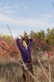 Woman yogi practicing outdoors — Foto de Stock