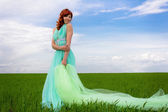 The goddess of the field, the girl - spring-summer. — Stock Photo