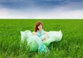 Campos de azafata verde con encanto — Foto de Stock