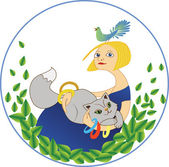 Girl with a cat and a bird — Stock Vector