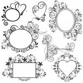 Set with lovlely background with hearts and ornaments — Stock Vector