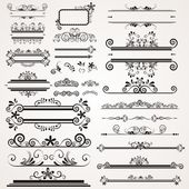 Vector set with calligraphic elements — Stock Vector