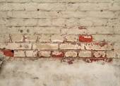 Texture of old crumbling brick walls, painted gray  — Stock Photo