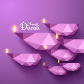 Vector Polygonal Diwali Diya (Oil Lamp). — Stock Vector