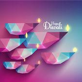 Vector Polygonal Diwali Diya (Oil Lamp). — Stock Vector