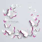 Abstract 3D Paper Butterflies Cut-out — Stock Vector