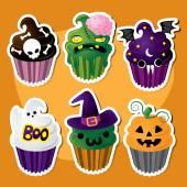 Cute Set of Halloween Cupcakes — Stock Vector