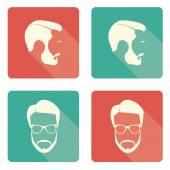 Icon set of a mans face — Stock Vector