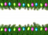 Christmas background with colorful garland and fir branches Vect — Stock Vector
