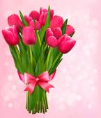 Valentine's holiday background with bouquet of pink flowers with — Cтоковый вектор