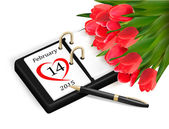 Valentine's Day Calendar. February 14 of Saint Valentines day. — Cтоковый вектор