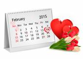 Valentine's Day Calendar. February 14 of Saint Valentines day. — Stock Vector