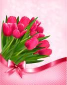 Pink tulips beautiful background. Vector. — Stock Vector