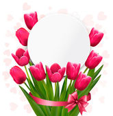 Celebration background with pink tulips. Vector. — Stock Vector