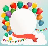 Retro birthday background with colorful balloons. Vector — Vecteur