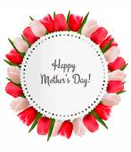 Red and white tulips with Happy Mother's Day note. Vector. — Stock Vector