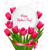 Rosa tulpaner med glad mors dag presentkort. Vektor. — Stockvektor
