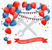 Happy Labor Day background with balloons. Vector. — Stock Vector