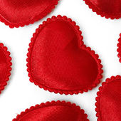 Felt red hearts isolated on a white background — Stock Photo